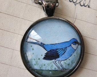 Pendant, Necklace, Bird, Blue Corvid, Western Scrub Jay, Wearable Art, Gift, Birthday
