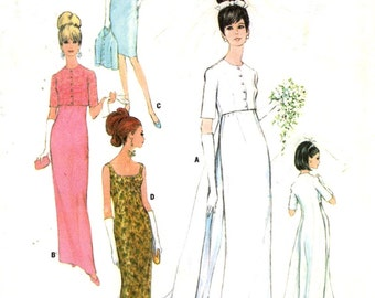 60s Wedding dress bridesmaid dress or evening dress with our without train vintage sewing pattern McCalls 8527 Bust 34 Uncut