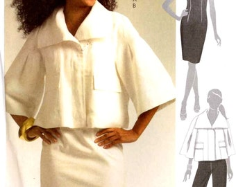 Summer dress pattern lined jacket with raglan sleeves pants and fitted dress sewing pattern McCalls 5596 Sz 6 to 12