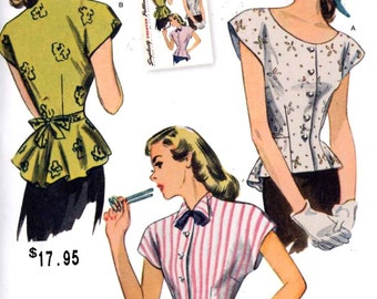 40s Retro Blouse pattern Vintage Reproduction sewing pattern Simplicity 1590 Sz 6 t 14 or 16 to 24 includes plus size  UNCUT