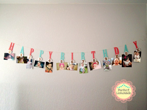 Items similar to milestone photo banner 1 st birthday for 1st bday decoration ideas