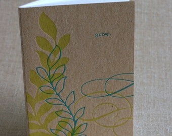 "Chipboard Letterpress Journal, ""Grow"" with Vines"