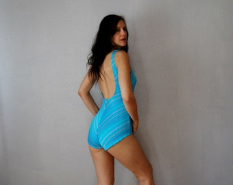 vintage 1970s CHEVRON striped swim suit