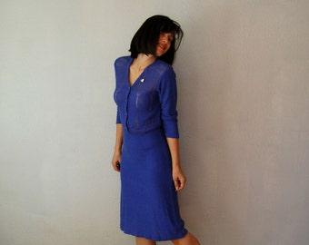 vintage 1970s semi sheer CROCHET knit dress