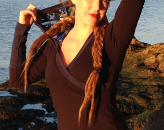 Nomadic Ballarina Hoodie with brocade lineing, petite, plus size yoga top
