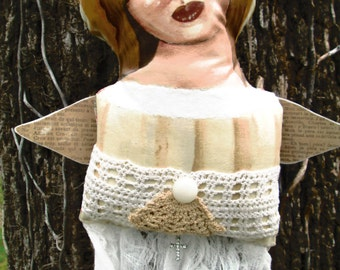 Folk Art  Mixed Media Doll Poppet Angel Wall Hanging by Creativelyjuiced