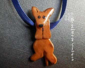 Xoloitzcuintli Mexican Hairless Dog Hangin' On Artist Hand-made Clay Pendant I1