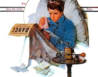 Norman Rockwell - Missing the Dance -  Saturday Evening Post Cover with Norman Rockwell Art Book Plate 1976