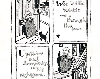 1919 Black and White Vintage Book Page -  Wee Willie Winkle and Little Bo Peep