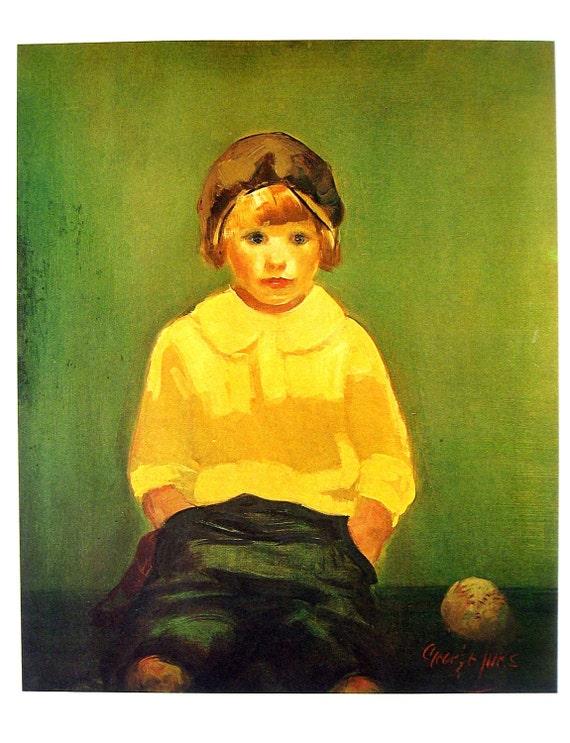 George Benjamin Luks - Boy with Baseball - Masterpiece Painting - 1966 Vintage Print Reproduction - 12 x 15
