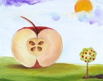 Original oil painting, landscape, autumn, apple, folk art, primitive art, small 4 x 4