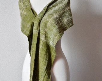 Handwoven Scarf in Handspun Yarn - Green Rustic Luxury Fiber Wrap in Forest Moss. Boho, Woodland, Forest, Scarf or Shawl. Handwoven Scarf.