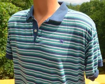 70s vintage golf shirt stripe UNICORN blue green polo Large preppy soft 80s