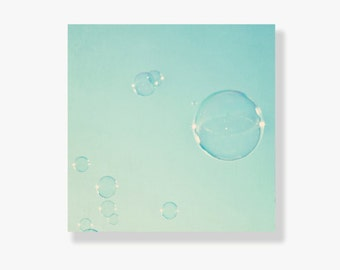 Mint bubble photo canvas, kids wall art, nursery decor, bubbles, mint, aqua, sky, whimsical decor, bubble photography - Wonder