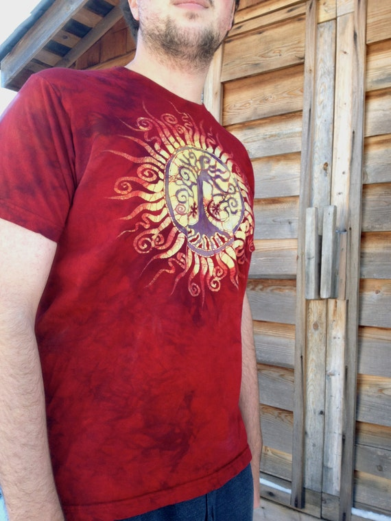Tree of Life Red Organic Cotton Men'sTshirt