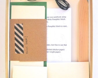 Green & Dark Brown DIY Bookbinding Kit, Make 2 Basic Soft Cover Notebooks plus 1 Mini Book!