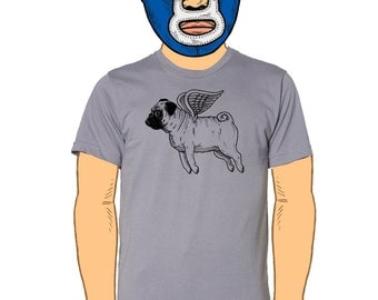 Flying Pug Mens T-Shirt Small, Medium, Large, XL in 7 Colors