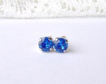 Sapphire Blue rhinestone earrings / 6mm / Swarovski earrings / post earrings / September birthstone