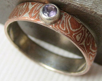 Mokume gane ring with Spinel, Gemstone Ring, Faceted Stone