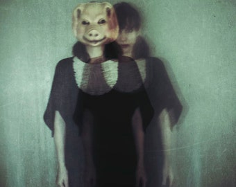 Surreal Halloween Photography, Fine Art Photograph, Pig Mask Portrait, Scary, Gothic, Strange, Fine Art Print, Halloween Decor, Dark Art