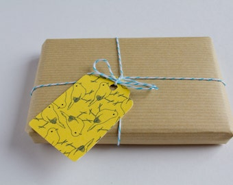 Pack of 10 Gift tags - Christmas tags - Favor tags - Gift Embellishments - Yellow Birds - For Xmas, Birthday, Thank you Gift