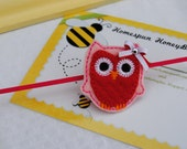 Valentine's Day Red Headband with Felt Owl in Soft Pink with Satin Ribbon Bow - Skinny Elastic Headband - Baby Headband - Holiday Dress Girl