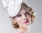 Floral Headpiece Bridal Pillbox Hat in Off White - Hand Curved Trimming - Lightweight Cocktail Fascinator Weddings Head Dress Accessory