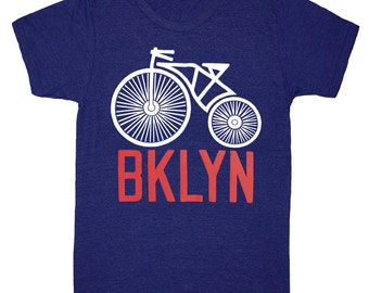 Brooklyn Bike - Unisex Mens T-shirt Indie Hipster BK Bklyn Bicycle Cyclist Wheel Tee New York Shirt TriBlend Indigo Navy Blue Track T-shirt
