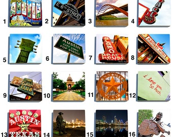Austin Color Stone Coaster Tile Set - Pick any four images - 16 to choose from