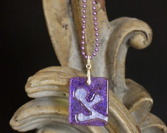 Berries Lilac Carved Dichroic Glass Pendant - FREE SHIPPING!