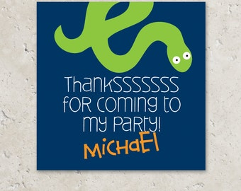 Snake Stickers Gift Tags . Reptile Birthday Party . for Favors, Treat Bags and Envelope Seals