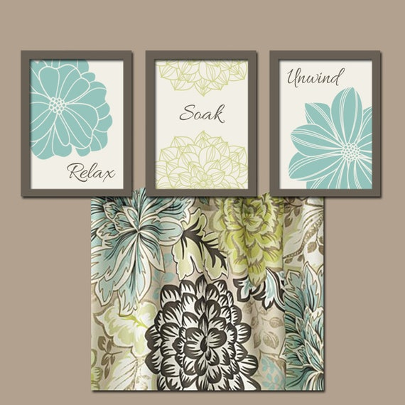 Seafoam bathroom wall art canvas or prints bathroom by for Green and brown bathroom set