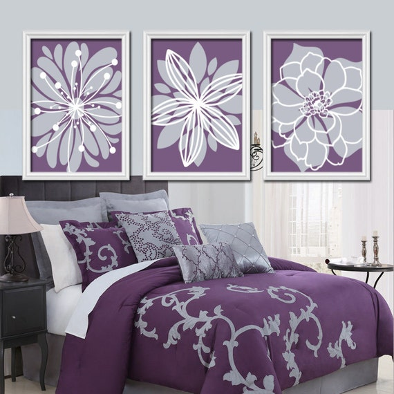 Wall Art Canvas Artwork Purple Lavender Gray Flower By
