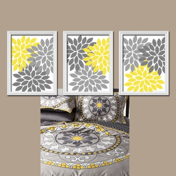 Bedroom Artwork Prints: Yellow Gray Wall Art CANVAS Or Prints Bedroom Pictures