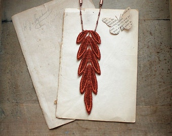 boho chic necklace / long lace necklace / LETO / lace feather, copper necklace, festival jewelry, tribal, bohemian necklace, hippie necklace
