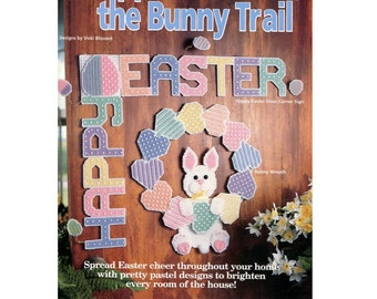 Hoppin' Down the Bunny Trail Easter Plastic Canvas Pattern - Coasters / Bunny Basket / Tissue Cover HOWB 181070