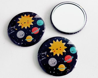 Space Pocket Mirror - Sun Planets UFO Stars