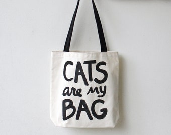 Cats are my Bag Tote, gift for women, cat lover gift for her, teen gift, bookworm gift for cat mom funny tote bag, cat lady gift for teen