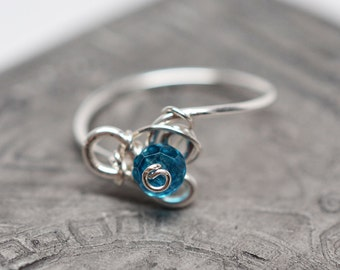 Sterling silver & london blue topaz bead wire-wrapped ring - size 7