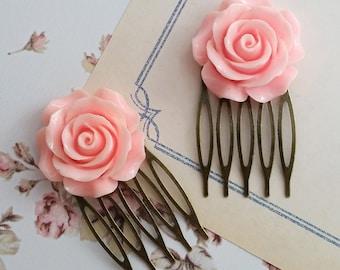 Pink Rose Hair Comb. Romantic Sweet Pink Bloom Rose. Nature Inspired Wedding Bridal Rose Floral Elegant Hair Accessories