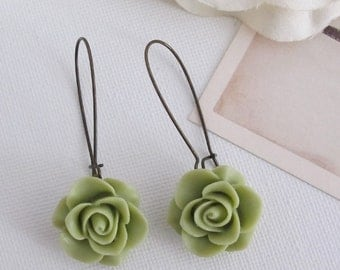 Shabby Chic Olive Green Rose. Romantic Nature Garden Jewellery. Nickel lead free. Bridal Wedding Floral Ear Accessories. Dangle Drop earring