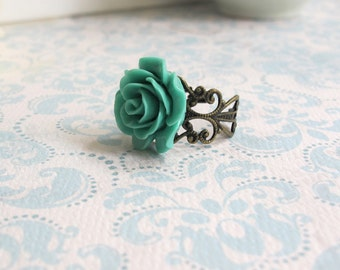 Teal Green Rose Ring. Antiqued Brass Lace Filigree Ring. Cocktail Ring. Bridal Bridesmaid Gift. Adjustable Ring. Country Wedding