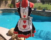 Queen of Hearts Inspired Sassy Apron, Alice in Wonderland, Cosplay, Womens, Plus Sizes, Retro, Sweetheart Apron with Petticoat and Hearts