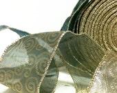 Sage Ribbon, Glitter Ribbon, Hemlock and Gold Ribbon, Wedding Ribbon, Green and Gold Ribbon, Gift Wrapping, Christmas Ribbon, WIDE Ribbon
