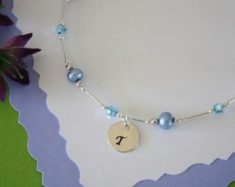 Blue Pearl Anklet, Initial Charm Anklet, Pearl & Initial Sterling Silver Adjustable Anklet, Silver Anklet, Monogram Anklet
