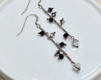 Long Dangle Earrings with Silver and Black Crystals