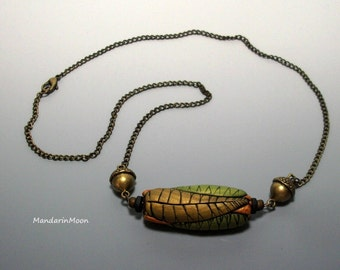 Artisan Leaf Necklace with Unique OOAK Focal Bead Unisex Jewelry