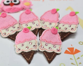 Set of 6pcs handmade felt ice cream w/ swarovski crystal--baby pink (FT2152)