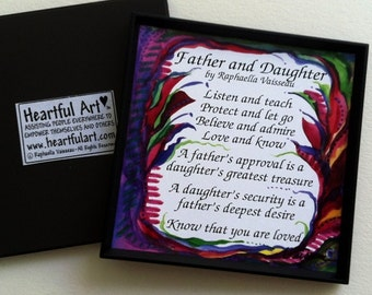 FATHER and DAUGHTER Original Poetry Inspirational Quote Family Home Decor Dad Birthday Father's Day Gift Heartful Art by Raphaella Vaisseau