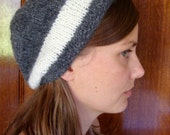 hand knit striped slouchy hat --- bobcat hats